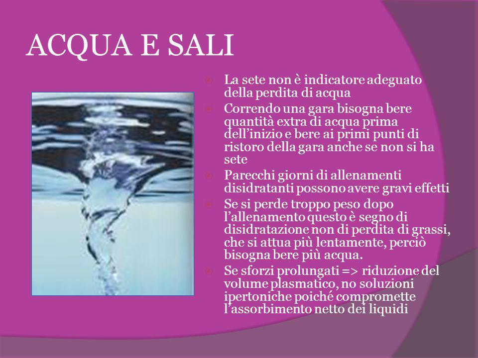 ACQUA E SALI  La sete non è indicatore adeguato della perdita di acqua  Correndo una gara bisogna bere quantità extra di acqua prima dell'inizio e b