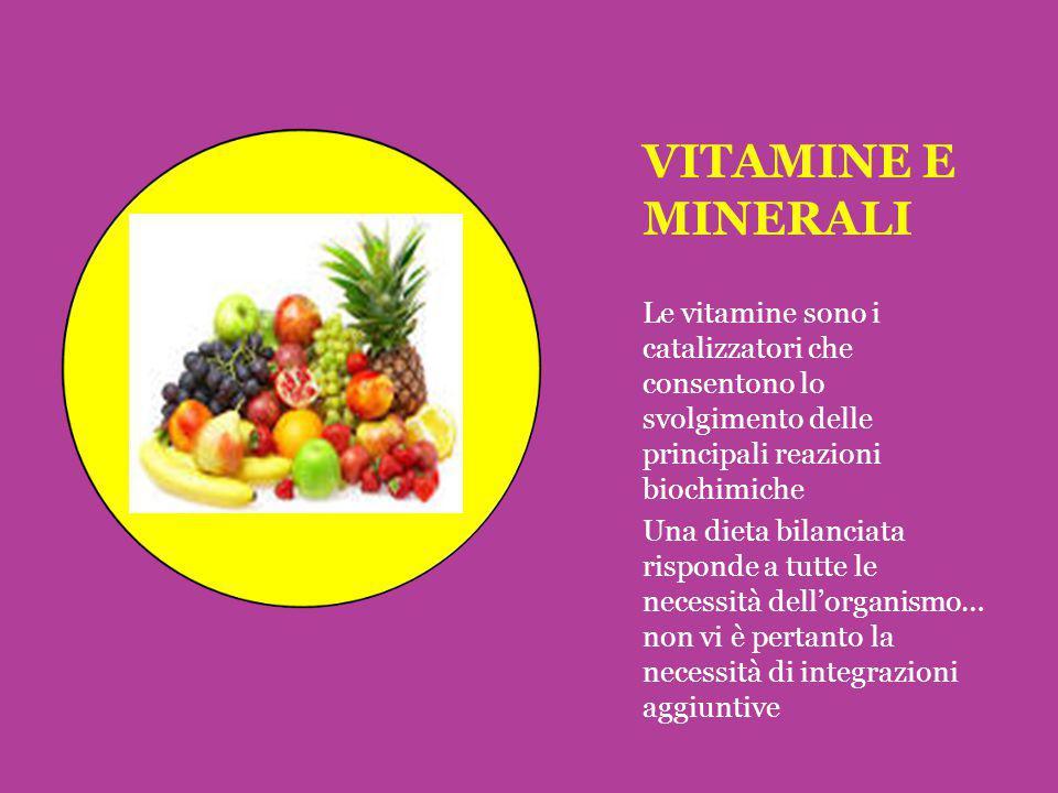 VITAMINE E MINERALI Le vitamine sono i catalizzatori che consentono lo svolgimento delle principali reazioni biochimiche Una dieta bilanciata risponde