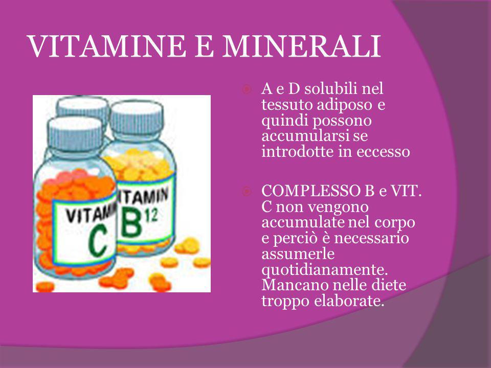 VITAMINE E MINERALI  A e D solubili nel tessuto adiposo e quindi possono accumularsi se introdotte in eccesso  COMPLESSO B e VIT. C non vengono accu