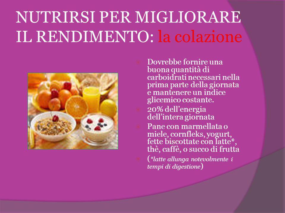 NUTRIRSI PER MIGLIORARE IL RENDIMENTO: la colazione  Dovrebbe fornire una buona quantità di carboidrati necessari nella prima parte della giornata e