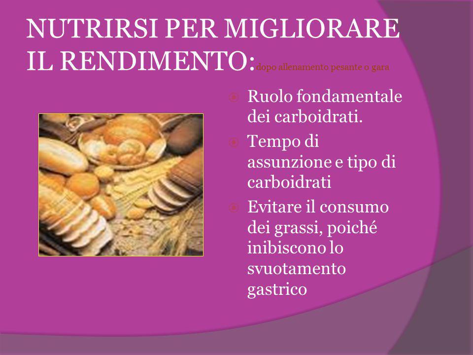 NUTRIRSI PER MIGLIORARE IL RENDIMENTO: dopo allenamento pesante o gara  Ruolo fondamentale dei carboidrati.  Tempo di assunzione e tipo di carboidra