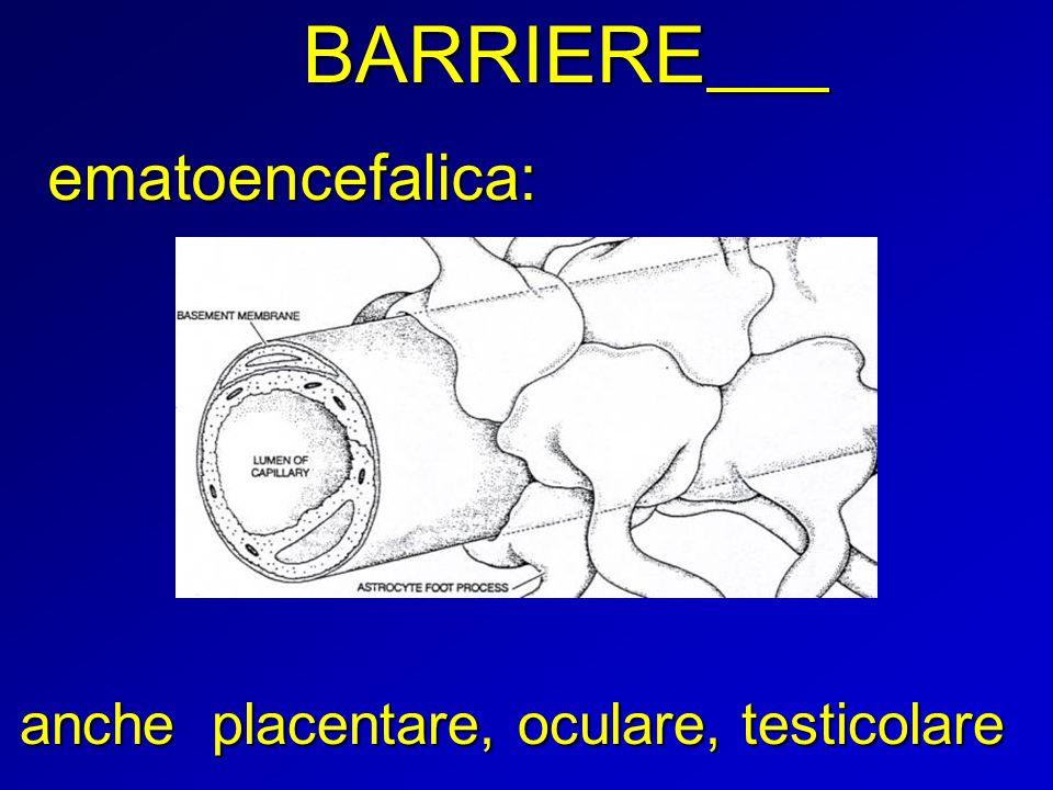 BARRIERE anche placentare, oculare, testicolare ematoencefalica: