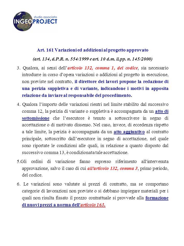 Art.161 Variazioni ed addizioni al progetto approvato (art.
