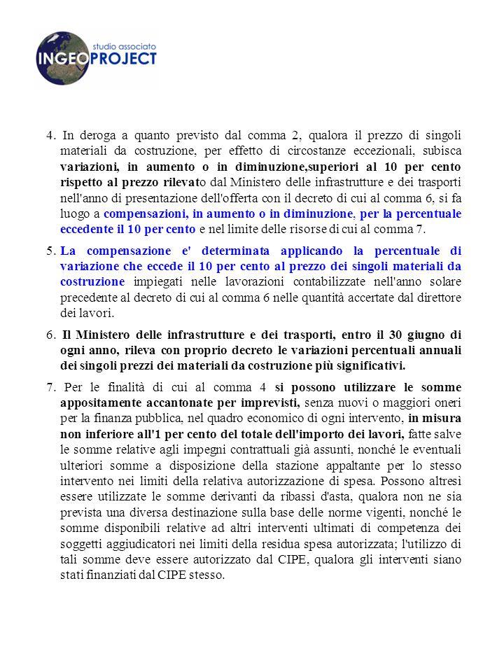 4. In deroga a quanto previsto dal comma 2, qualora il prezzo di singoli materiali da costruzione, per effetto di circostanze eccezionali, subisca var
