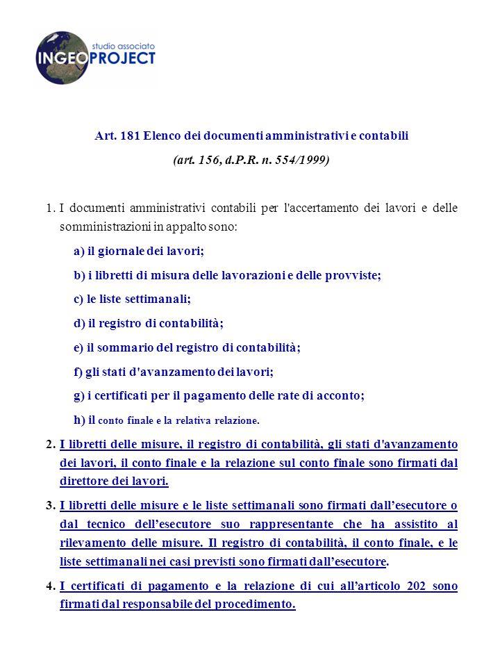Art.181 Elenco dei documenti amministrativi e contabili (art.