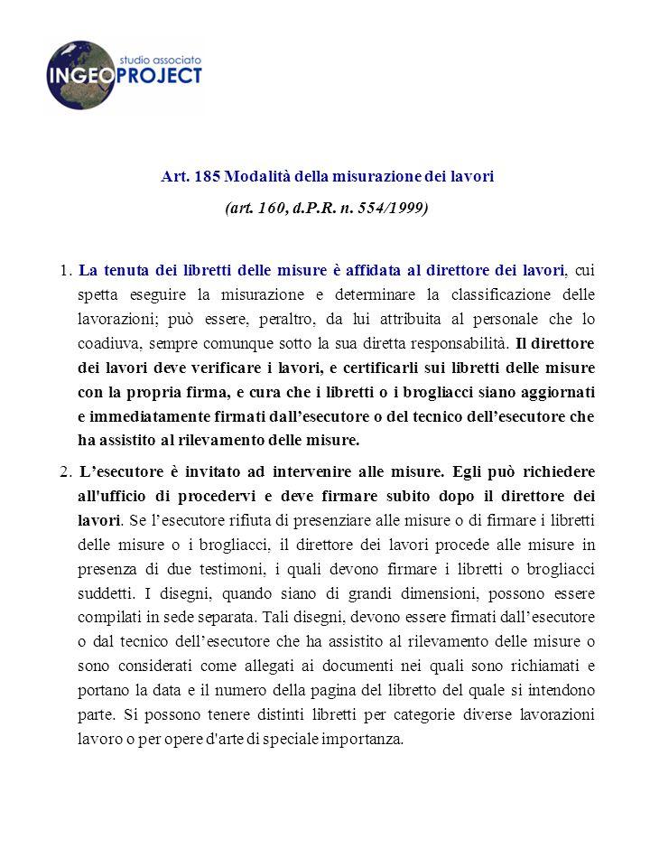 Art.185 Modalità della misurazione dei lavori (art.