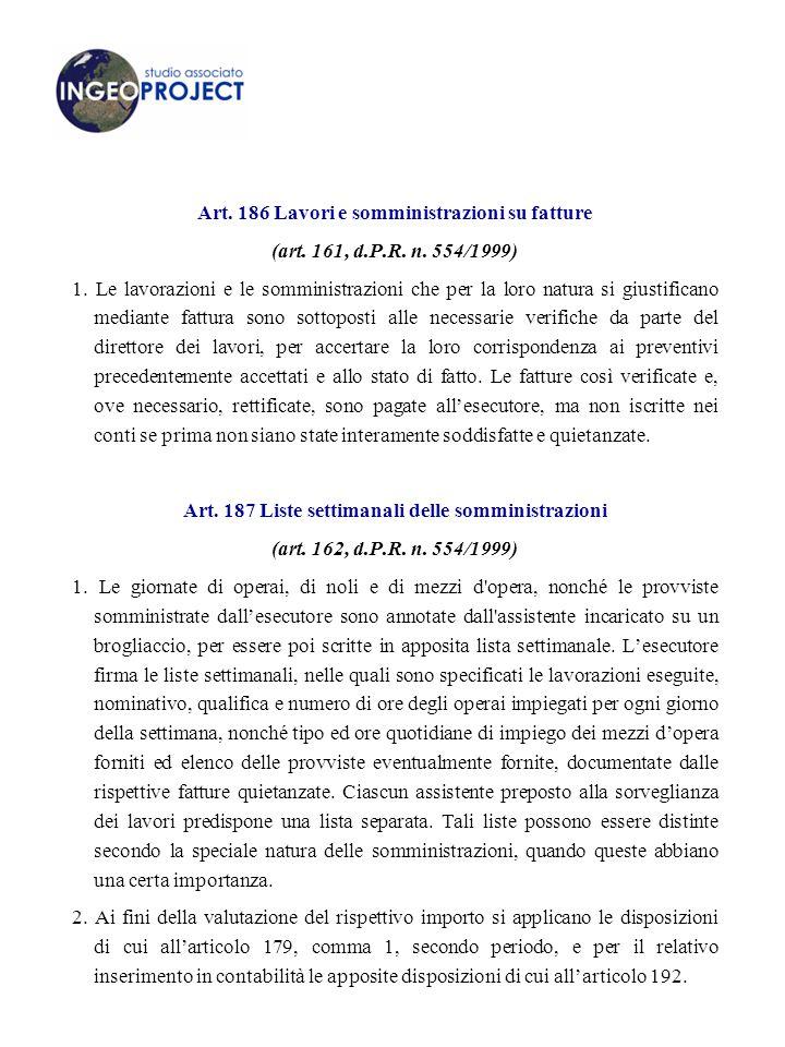 Art.186 Lavori e somministrazioni su fatture (art.