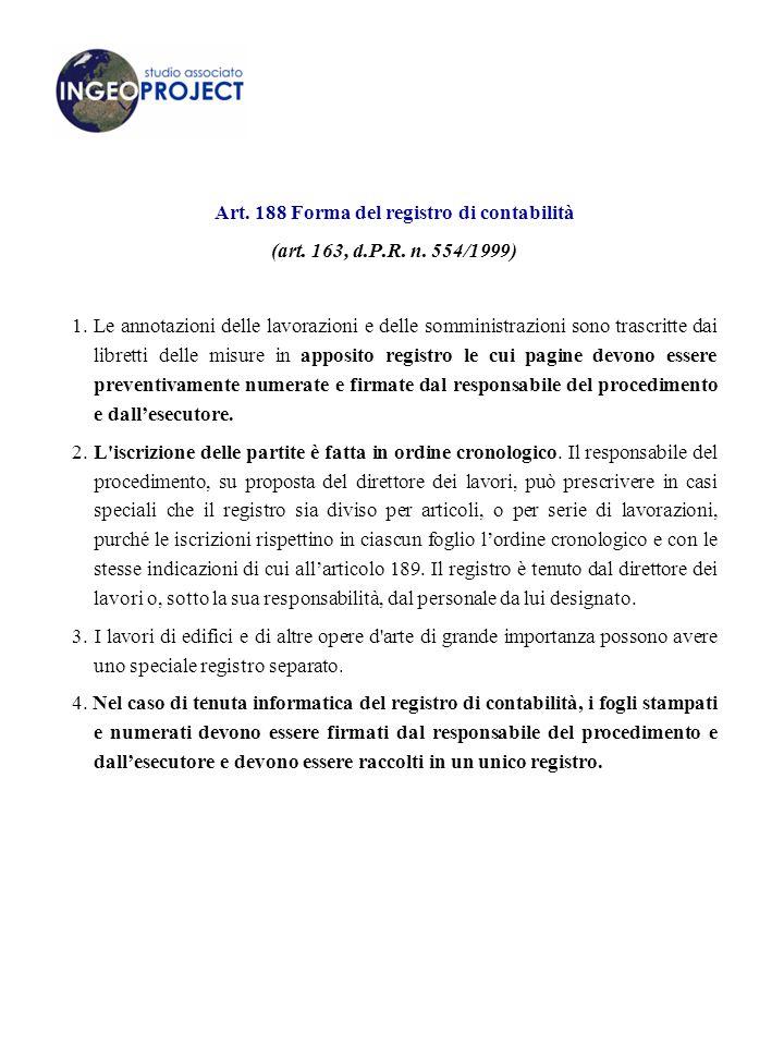Art.188 Forma del registro di contabilità (art. 163, d.P.R.