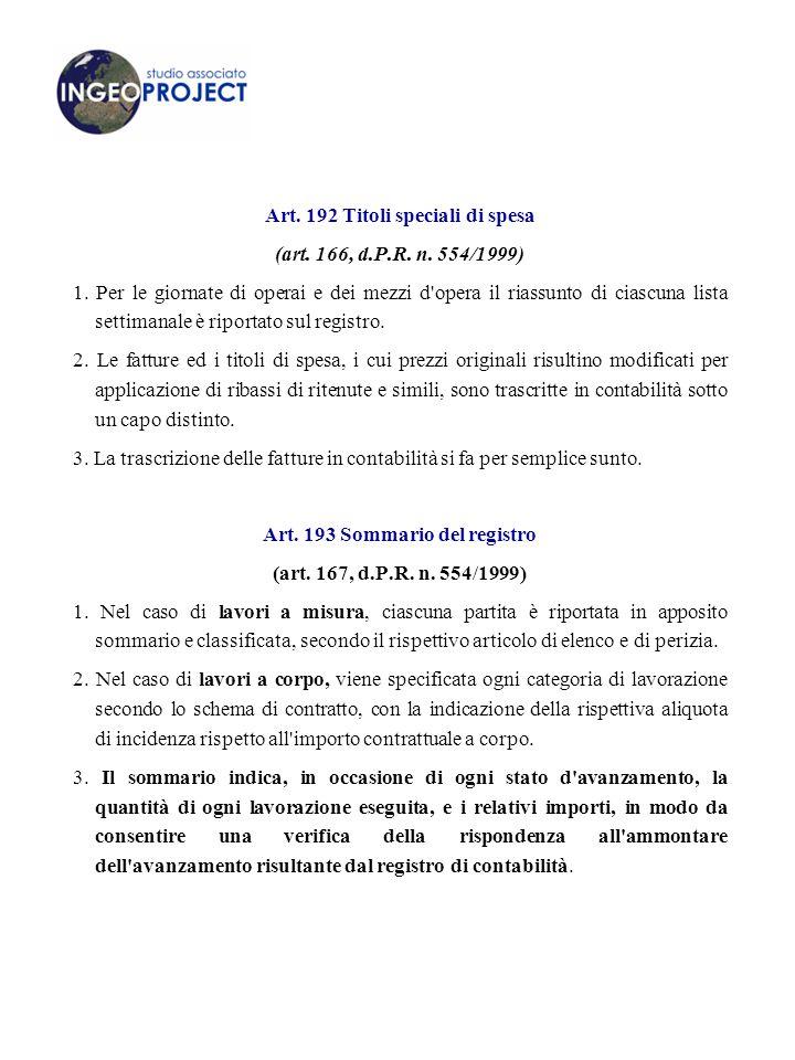Art.192 Titoli speciali di spesa (art. 166, d.P.R.