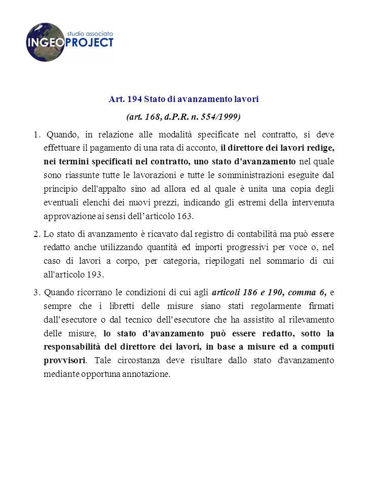 Art.194 Stato di avanzamento lavori (art. 168, d.P.R.