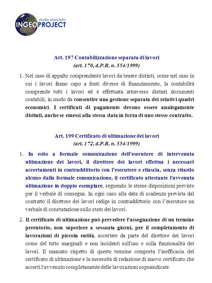 Art.197 Contabilizzazione separata di lavori (art.