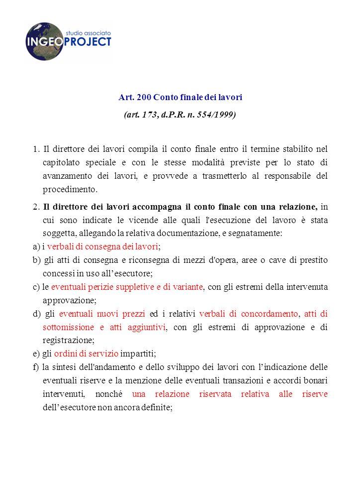 Art.200 Conto finale dei lavori (art. 173, d.P.R.