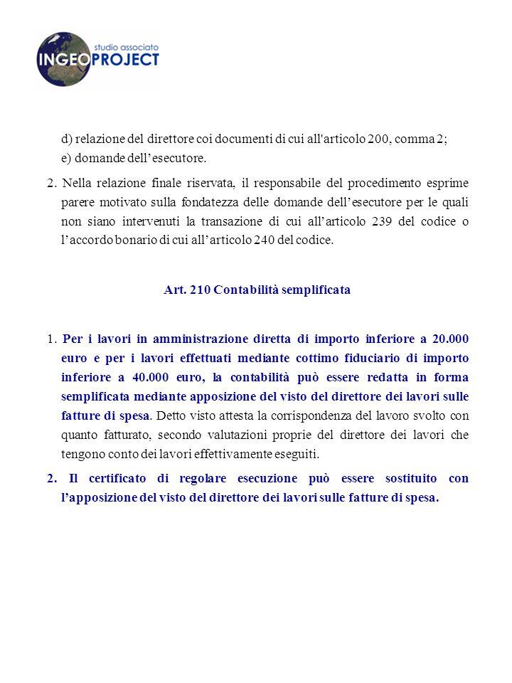 d) relazione del direttore coi documenti di cui all articolo 200, comma 2; e) domande dell'esecutore.