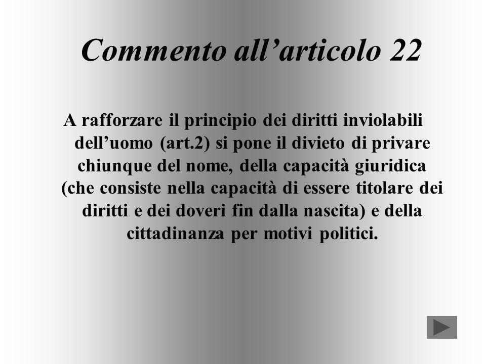 Articolo 22 Nessuno può essere privato, per motivi politici, della capacità giuridica, della cittadinanza, del nome.