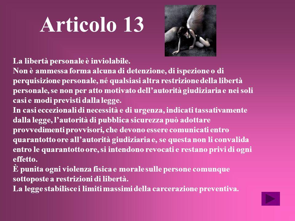 DIRITTI E DOVERI Articolo 13 Articolo 17 Articolo 18 Articolo 19 Articolo 21 Articolo 22 Articolo 23 Articolo 27