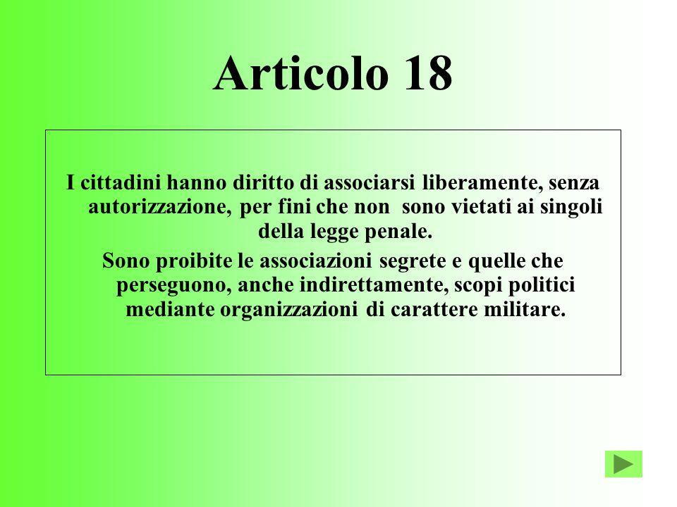 Articolo 18 I cittadini hanno diritto di associarsi liberamente, senza autorizzazione, per fini che non sono vietati ai singoli della legge penale.