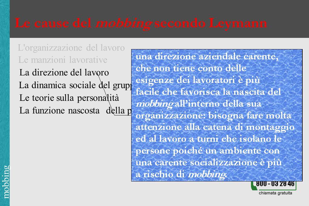 mobbing Le cause del mobbing secondo Leymann L organizzazione del lavoro Le manzioni lavorative La direzione del lavoro La dinamica sociale del gruppo Le teorie sulla personalità La funzione nascosta della psicologia nella società