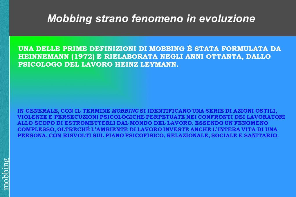 mobbing Mobbing strano fenomeno in evoluzione UNA DELLE PRIME DEFINIZIONI DI MOBBING È STATA FORMULATA DA HEINNEMANN (1972) E RIELABORATA NEGLI ANNI OTTANTA, DALLO PSICOLOGO DEL LAVORO HEINZ LEYMANN.