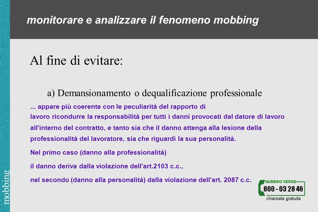 mobbing monitorare e analizzare il fenomeno mobbing Al fine di evitare: a) Demansionamento o dequalificazione professionale...