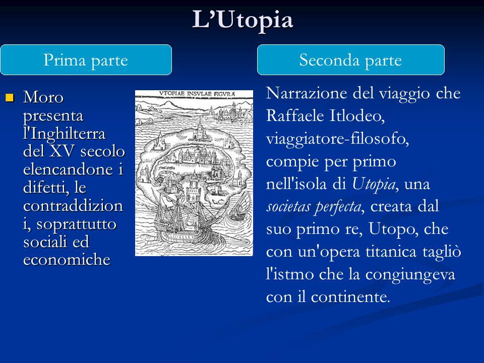 L'Utopia Moro presenta l'Inghilterra del XV secolo elencandone i difetti, le contraddizion i, soprattutto sociali ed economiche Moro presenta l'Inghil
