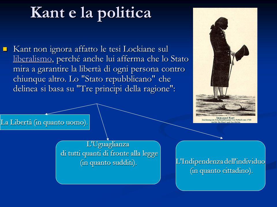 Kant e la politica Kant non ignora affatto le tesi Lockiane sul liberalismo, perché anche lui afferma che lo Stato mira a garantire la libertà di ogni