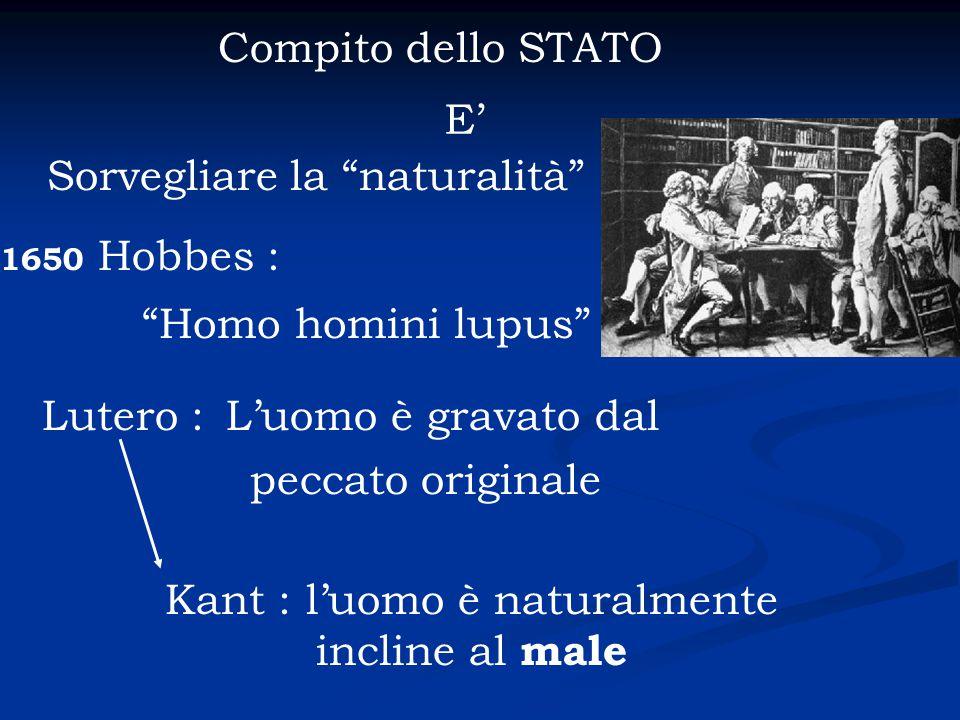 """Compito dello STATO E' Sorvegliare la """"naturalità"""" 1650 Hobbes : """"Homo homini lupus"""" Kant : l'uomo è naturalmente incline al male Lutero :L'uomo è gra"""