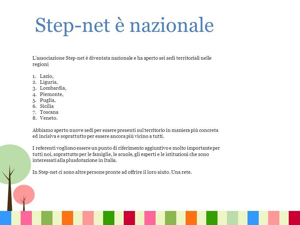 L'associazione Step-net è diventata nazionale e ha aperto sei sedi territoriali nelle regioni 1.Lazio, 2.Liguria, 3.Lombardia, 4.Piemonte, 5.Puglia, 6