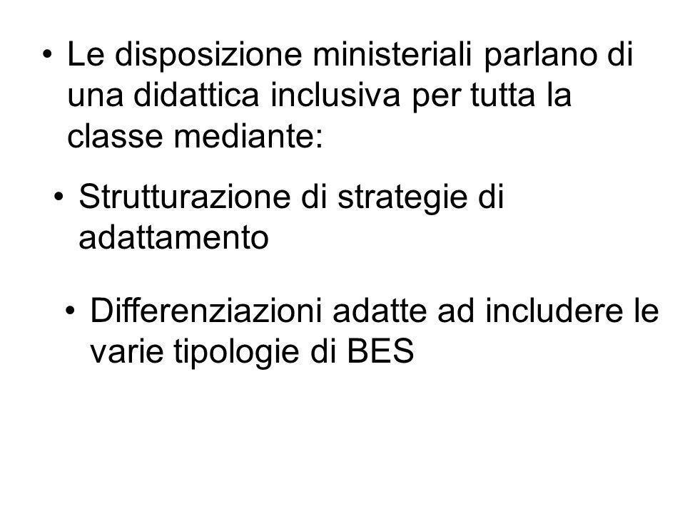 Le disposizione ministeriali parlano di una didattica inclusiva per tutta la classe mediante: Strutturazione di strategie di adattamento Differenziazi