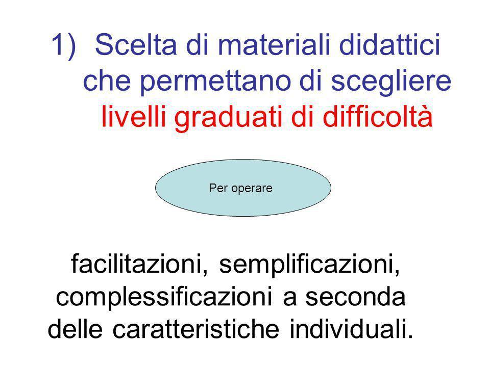 1)Scelta di materiali didattici che permettano di scegliere livelli graduati di difficoltà facilitazioni, semplificazioni, complessificazioni a second