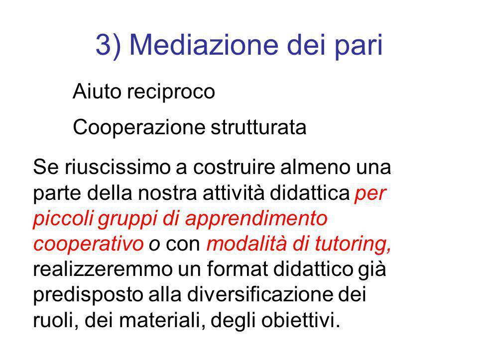 3) Mediazione dei pari Aiuto reciproco Cooperazione strutturata Se riuscissimo a costruire almeno una parte della nostra attività didattica per piccol