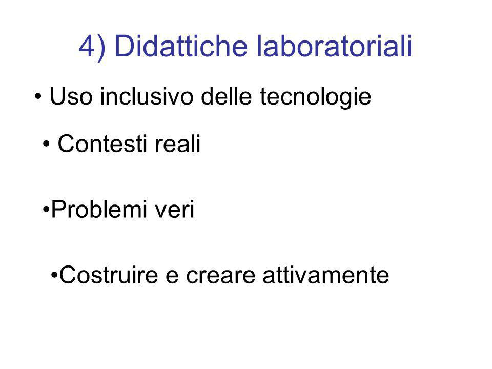 4) Didattiche laboratoriali Uso inclusivo delle tecnologie Contesti reali Problemi veri Costruire e creare attivamente