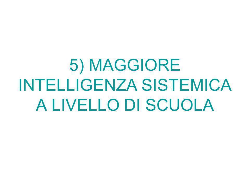 5) MAGGIORE INTELLIGENZA SISTEMICA A LIVELLO DI SCUOLA