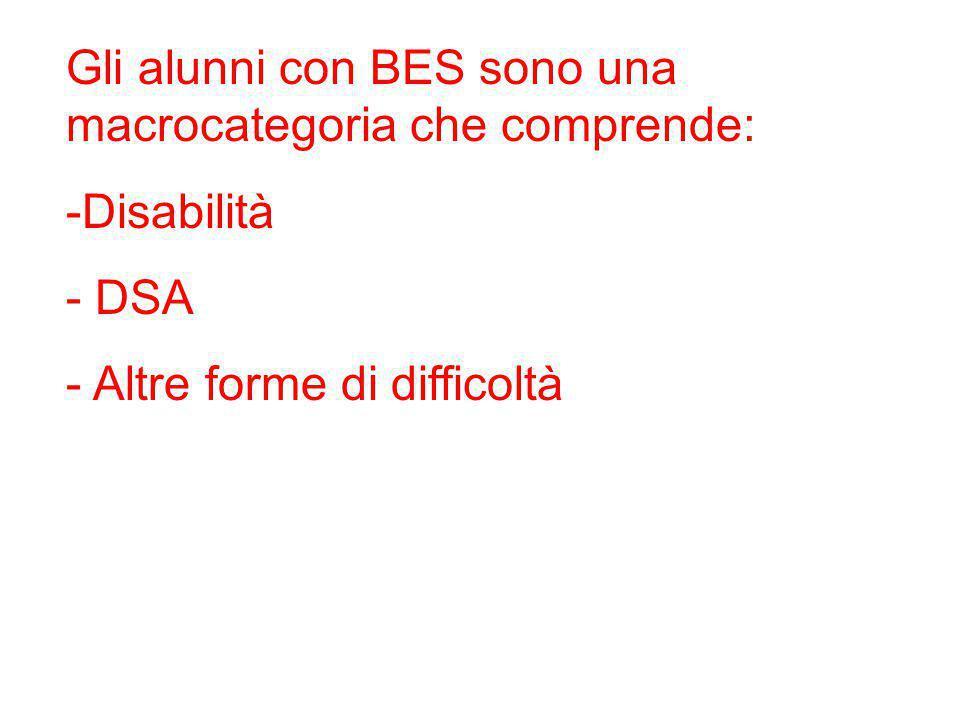 Gli alunni con BES sono una macrocategoria che comprende: -Disabilità - DSA - Altre forme di difficoltà