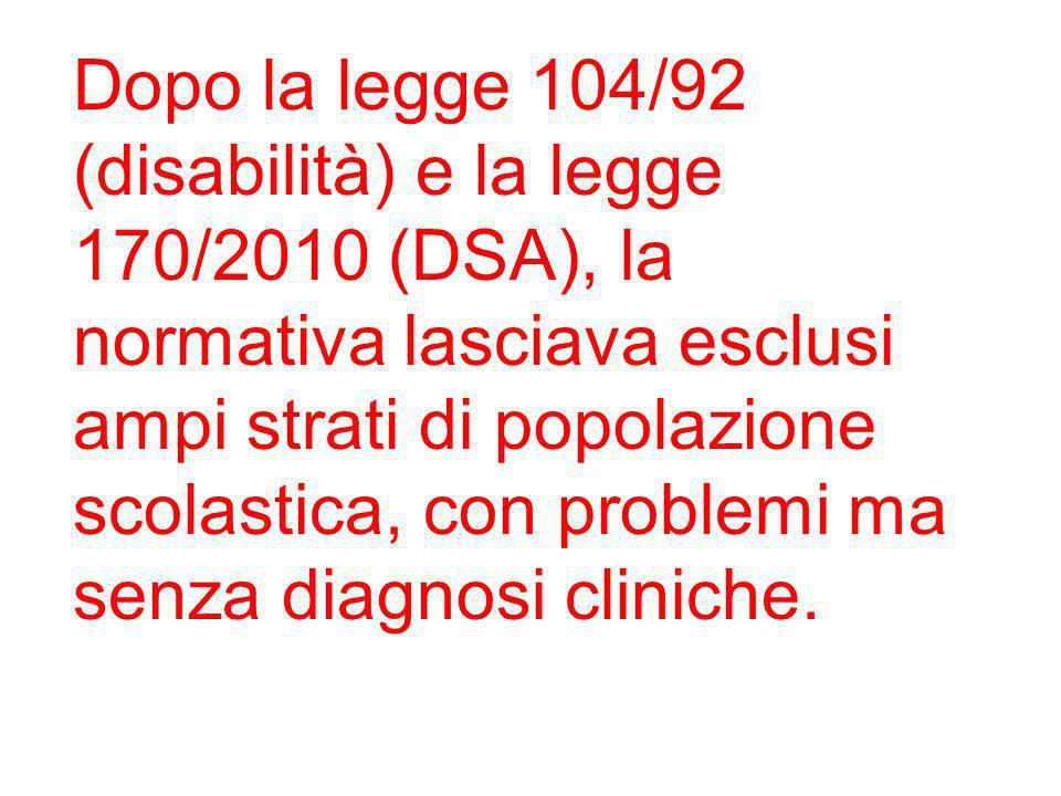 Dopo la legge 104/92 (disabilità) e la legge 170/2010 (DSA), la normativa lasciava esclusi ampi strati di popolazione scolastica, con problemi ma senz