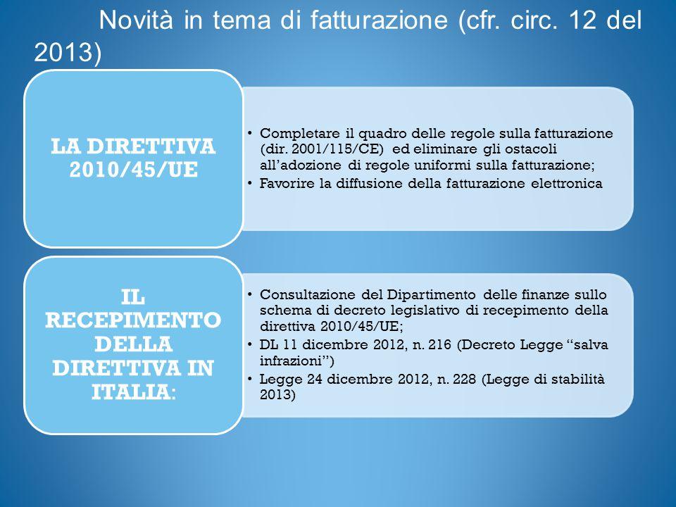 Novità in tema di fatturazione (cfr. circ. 12 del 2013) Completare il quadro delle regole sulla fatturazione (dir. 2001/115/CE) ed eliminare gli ostac