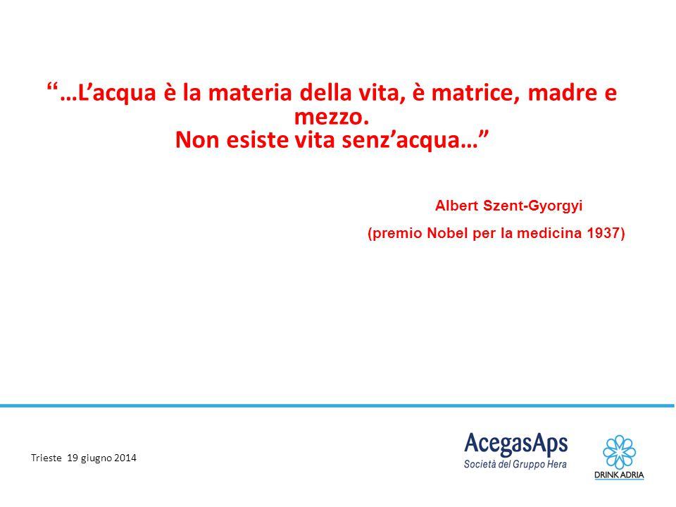 """Trieste 19 giugno 2014 """" …L'acqua è la materia della vita, è matrice, madre e mezzo. Non esiste vita senz'acqua…"""" Albert Szent-Gyorgyi (premio Nobel p"""
