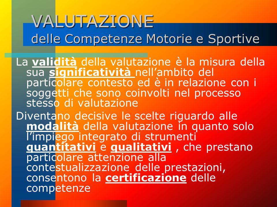 VALUTAZIONE delle Competenze Motorie e Sportive La competenza scaturisce ed è rilevabile dall'analisi del soggetto in azione, dalle abilità e conoscen