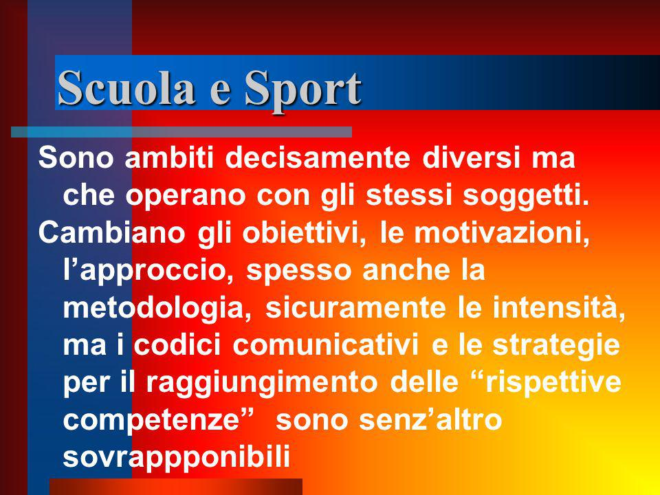 Scuola e Sport Sono ambiti decisamente diversi ma che operano con gli stessi soggetti.