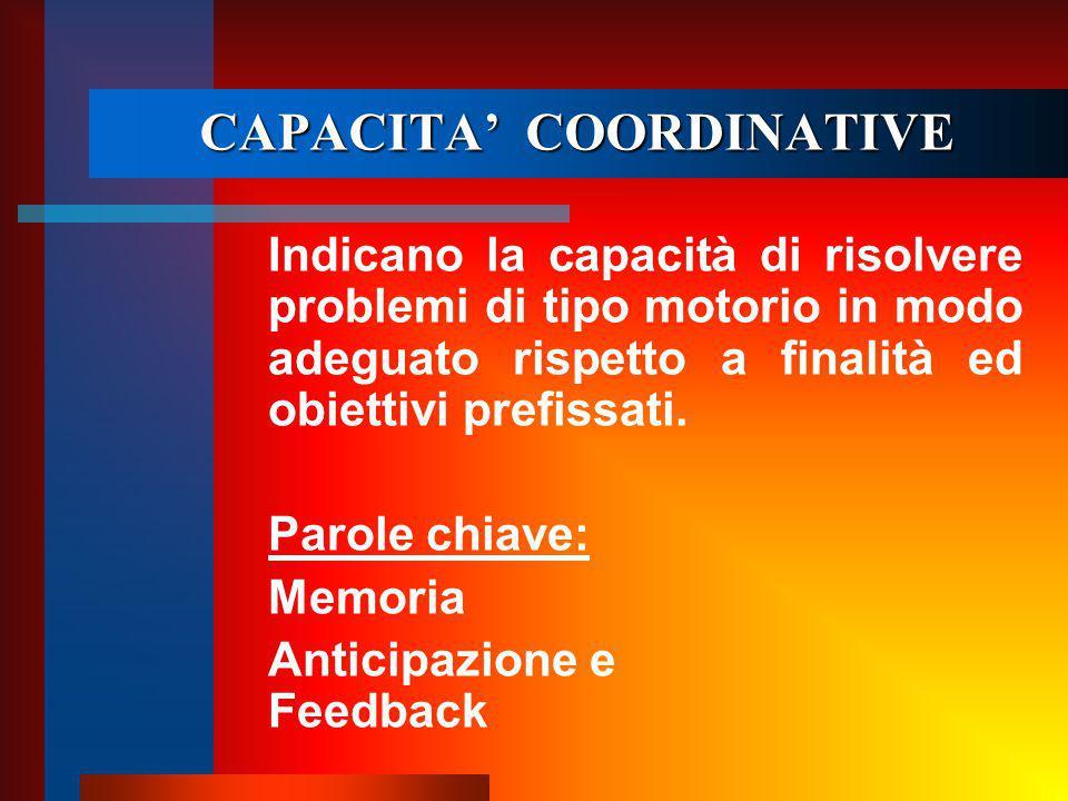 CAPACITA' COORDINATIVE Indicano la capacità di risolvere problemi di tipo motorio in modo adeguato rispetto a finalità ed obiettivi prefissati.