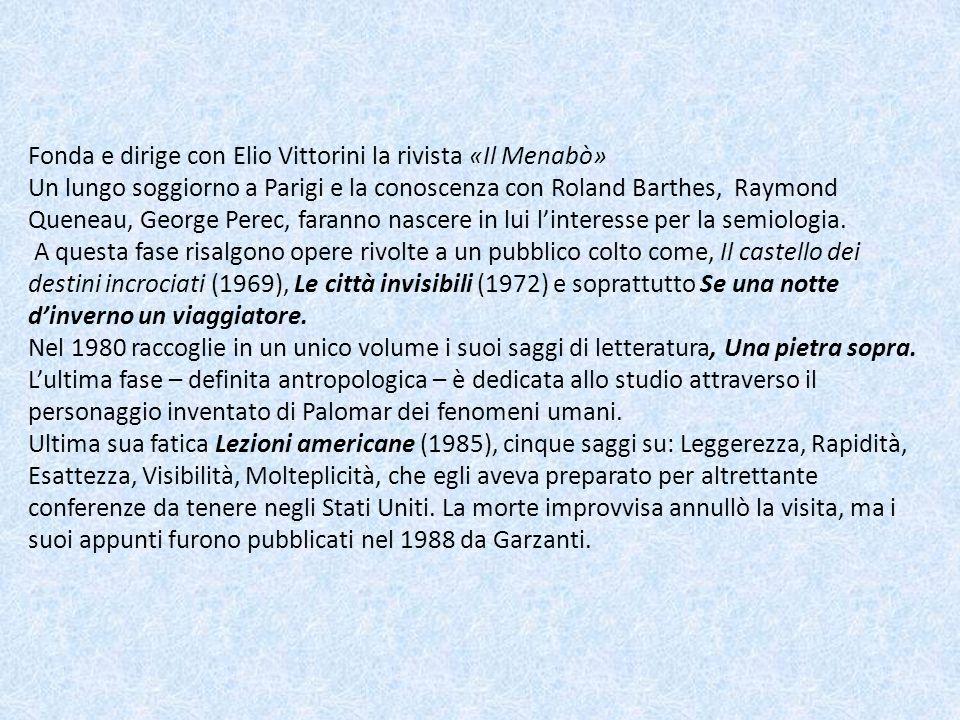Fonda e dirige con Elio Vittorini la rivista «Il Menabò» Un lungo soggiorno a Parigi e la conoscenza con Roland Barthes, Raymond Queneau, George Perec