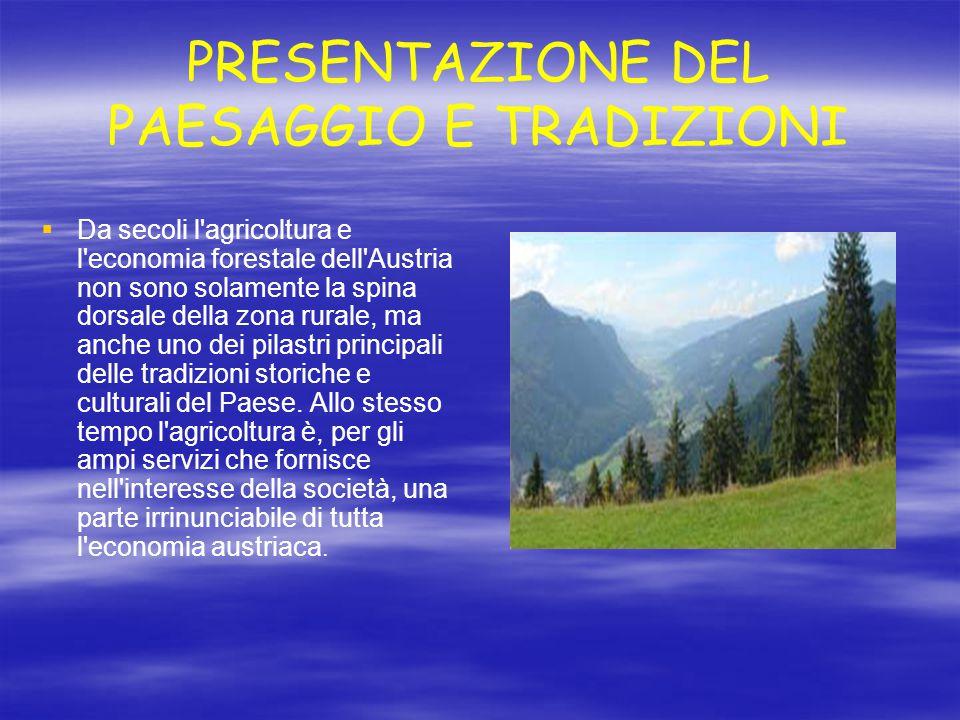PRESENTAZIONE DEL PAESAGGIO E TRADIZIONI   Da secoli l'agricoltura e l'economia forestale dell'Austria non sono solamente la spina dorsale della zon