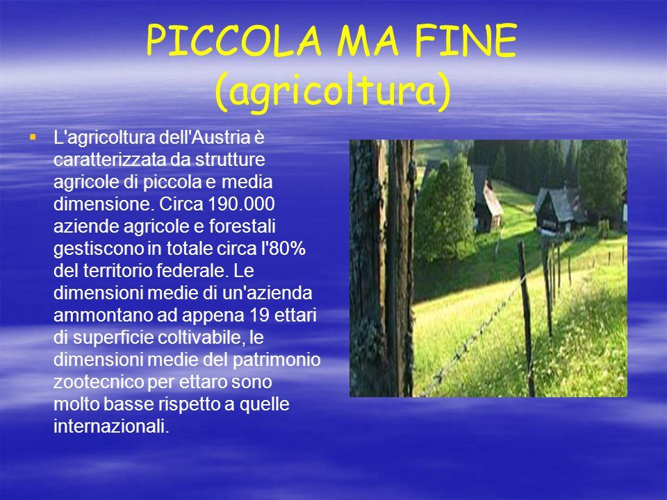 PICCOLA MA FINE (agricoltura)   L'agricoltura dell'Austria è caratterizzata da strutture agricole di piccola e media dimensione. Circa 190.000 azien