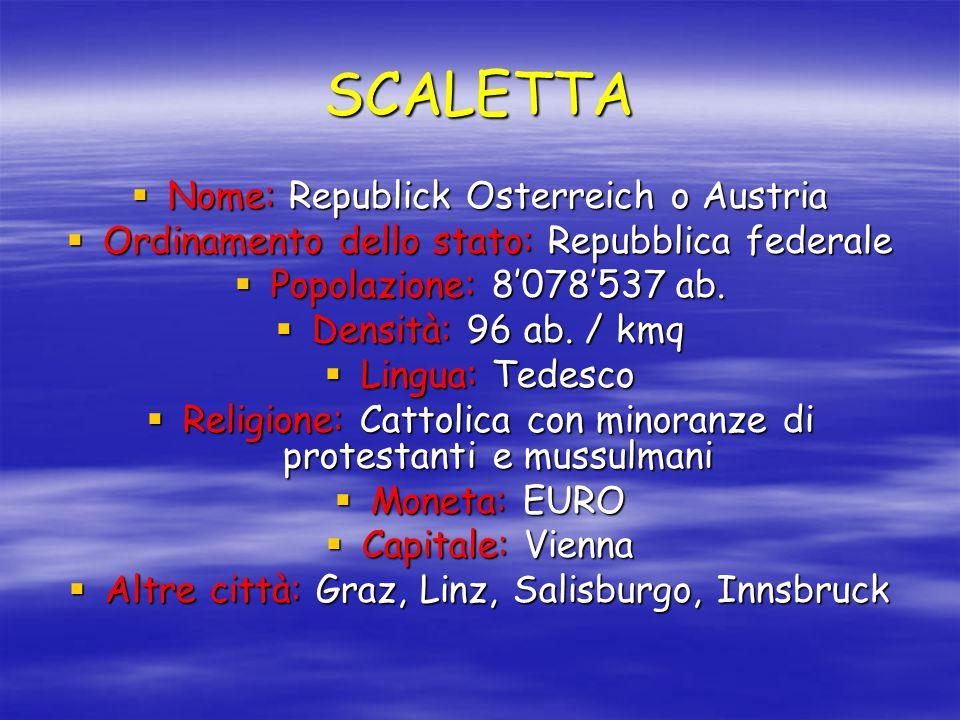 SCALETTA  Nome: Republick Osterreich o Austria  Ordinamento dello stato: Repubblica federale  Popolazione: 8'078'537 ab.  Densità: 96 ab. / kmq 
