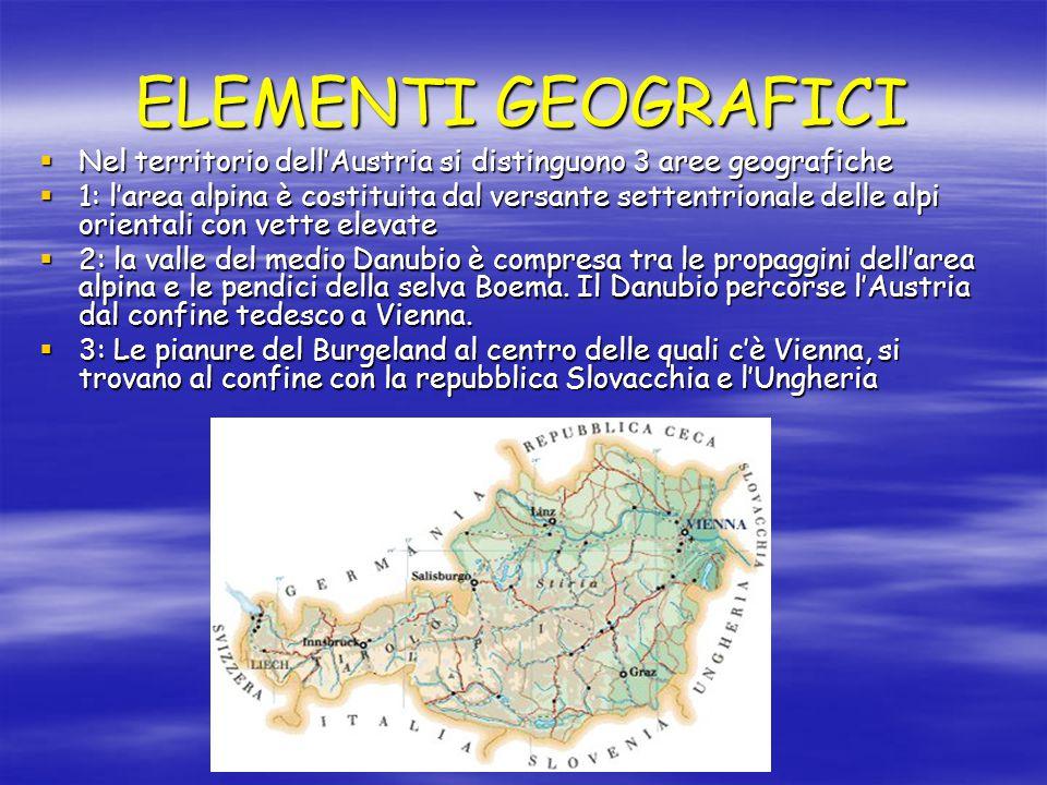 ELEMENTI GEOGRAFICI  Nel territorio dell'Austria si distinguono 3 aree geografiche  1: l'area alpina è costituita dal versante settentrionale delle