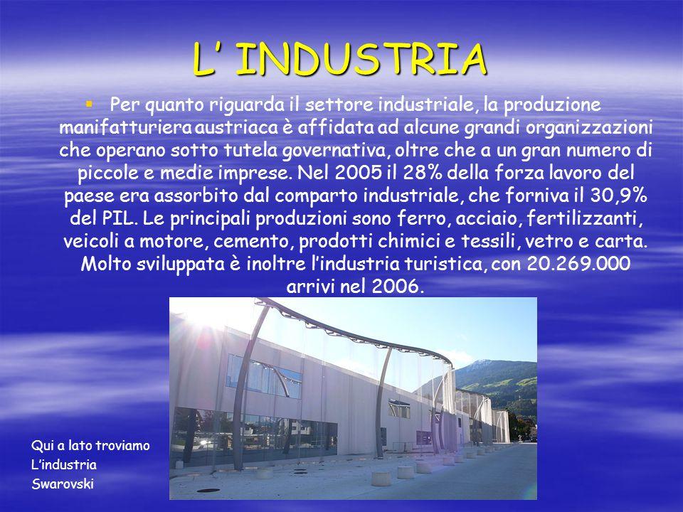 L' INDUSTRIA   Per quanto riguarda il settore industriale, la produzione manifatturiera austriaca è affidata ad alcune grandi organizzazioni che ope
