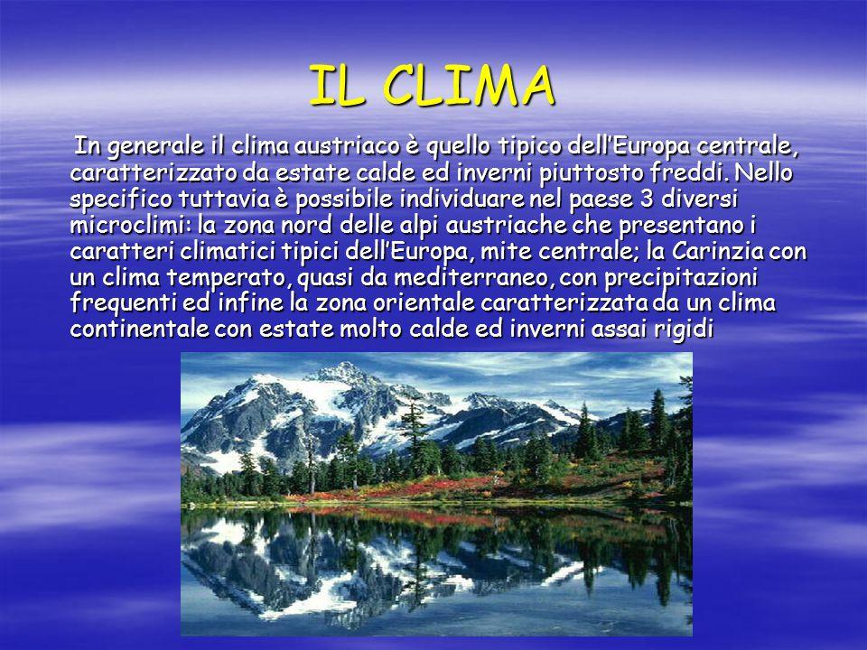 IL CLIMA In generale il clima austriaco è quello tipico dell'Europa centrale, caratterizzato da estate calde ed inverni piuttosto freddi. Nello specif