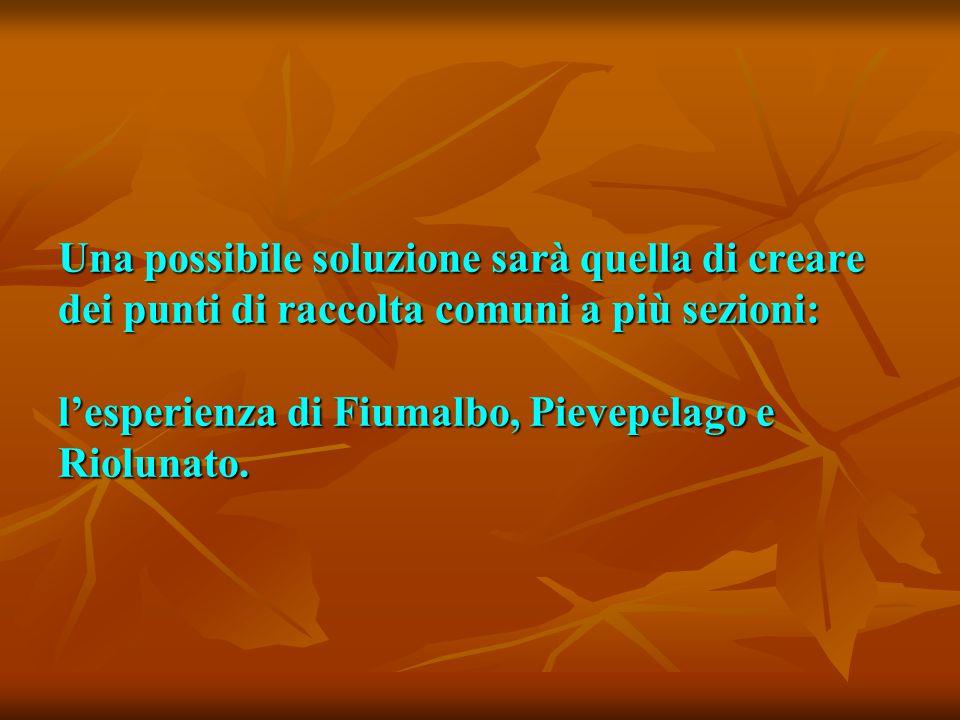 Una possibile soluzione sarà quella di creare dei punti di raccolta comuni a più sezioni: l'esperienza di Fiumalbo, Pievepelago e Riolunato.