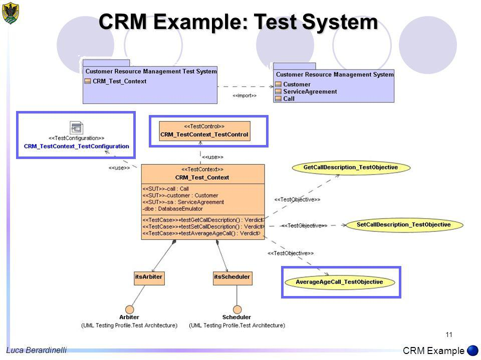 11 CRM Example: Test System CRM Example Luca Berardinelli