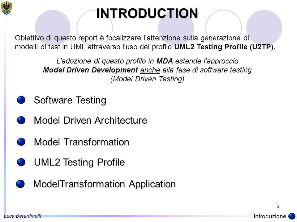 2 INTRODUCTION Software Testing Obiettivo di questo report è focalizzare l'attenzione sulla generazione di modelli di test in UML attraverso l'uso del profilo UML2 Testing Profile (U2TP).