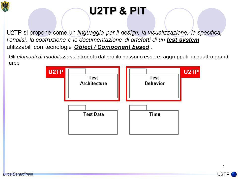 7 U2TP & PIT U2TP U2TP si propone come un linguaggio per il design, la visualizzazione, la specifica, l'analisi, la costruzione e la documentazione di artefatti di un test system utilizzabili con tecnologie Object / Component based.